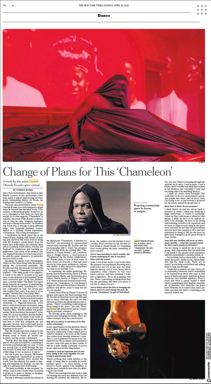 a screenshot of the article in the NYTimes Replica Edition