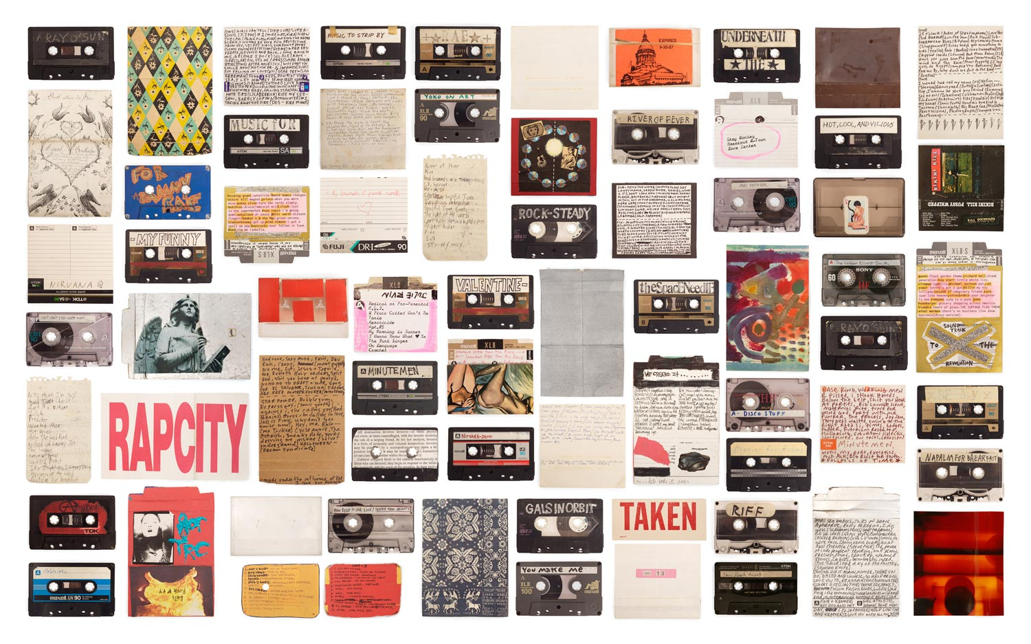 a collage of mixtapes and letters relating to queer themes