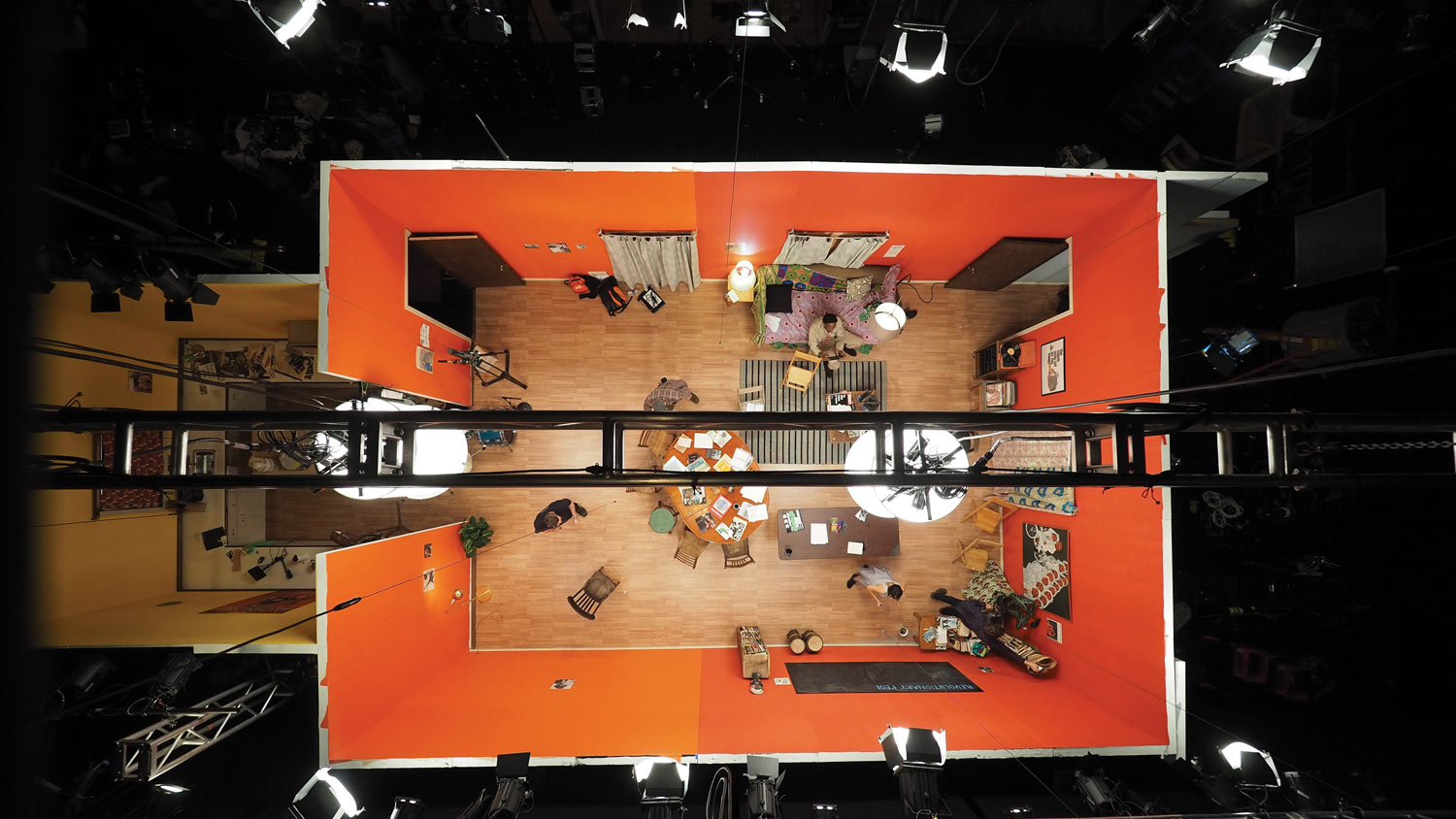 a shot from above the studio of an film production.