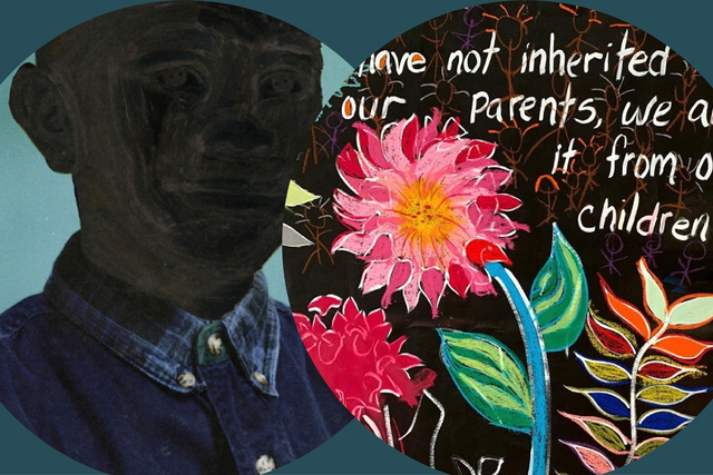 an image collage of a painting of a young black person and a mural with writing and flowers