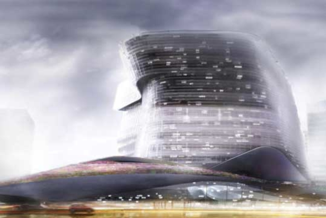 a rendering of a futuristic building called NOHALO