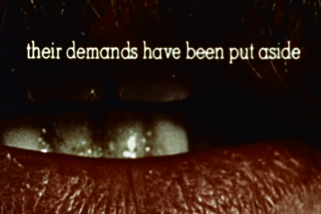 "a mouth with text above it reading ""their demands have been put aside"""