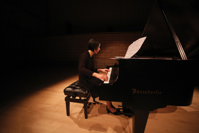pianist in concert hall