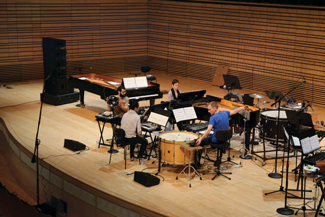 an ensemble on the concert hall stage