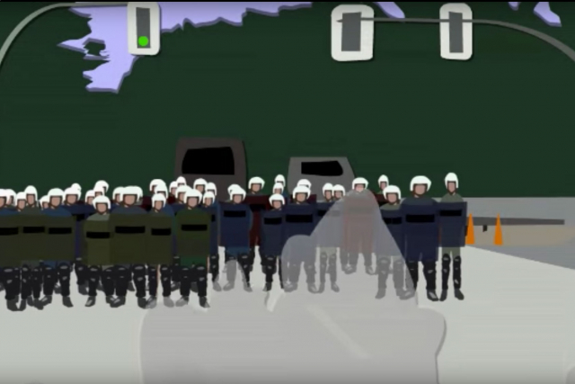 animation of police in riot gear