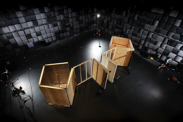 a wood structure in studio 1